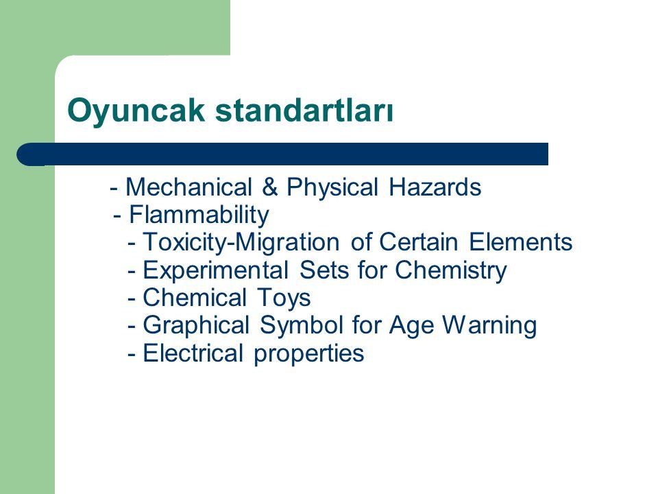Oyuncak standartları - Mechanical & Physical Hazards - Flammability - Toxicity-Migration of Certain Elements - Experimental Sets for Chemistry - Chemi