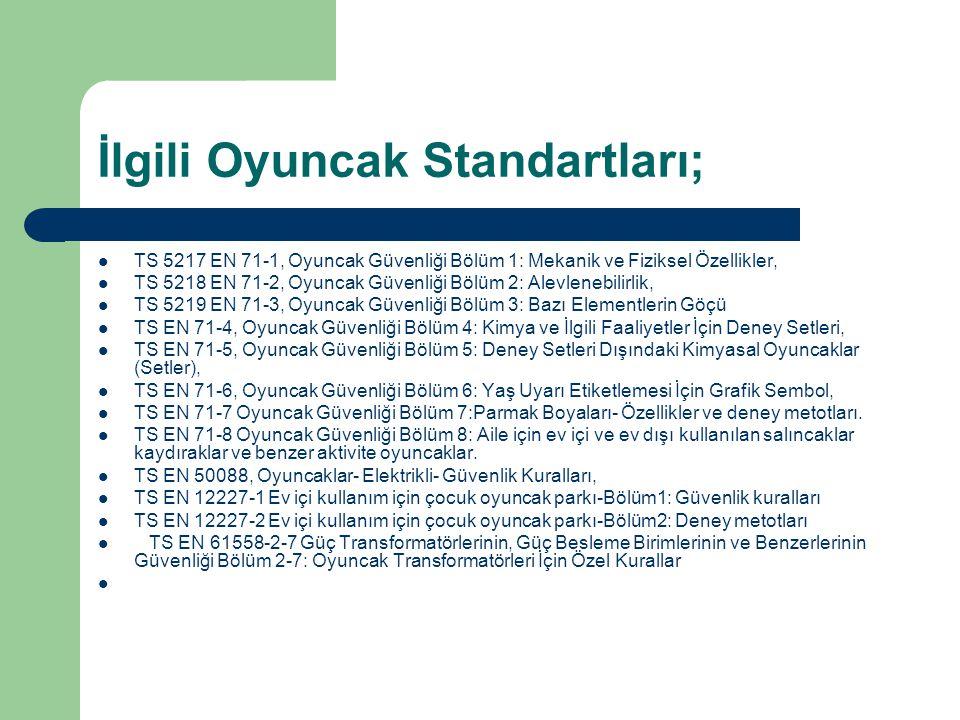 İlgili Oyuncak Standartları; TS 5217 EN 71-1, Oyuncak Güvenliği Bölüm 1: Mekanik ve Fiziksel Özellikler, TS 5218 EN 71-2, Oyuncak Güvenliği Bölüm 2: A