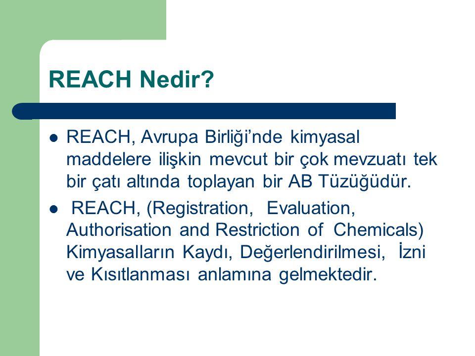 REACH Nedir? REACH, Avrupa Birliği'nde kimyasal maddelere ilişkin mevcut bir çok mevzuatı tek bir çatı altında toplayan bir AB Tüzüğüdür. REACH, (Regi