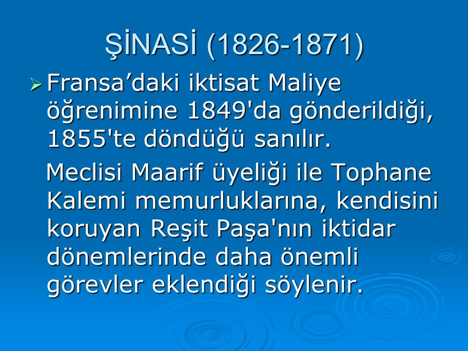 FFFFransa'daki iktisat Maliye öğrenimine 1849'da gönderildiği, 1855'te döndüğü sanılır. Meclisi Maarif üyeliği ile Tophane Kalemi memurluklarına,