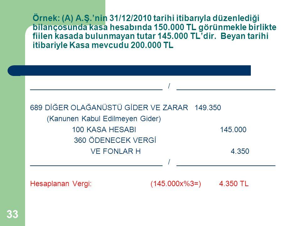 33 Örnek: (A) A.Ş.'nin 31/12/2010 tarihi itibarıyla düzenlediği bilançosunda kasa hesabında 150.000 TL görünmekle birlikte fiilen kasada bulunmayan tutar 145.000 TL'dir.