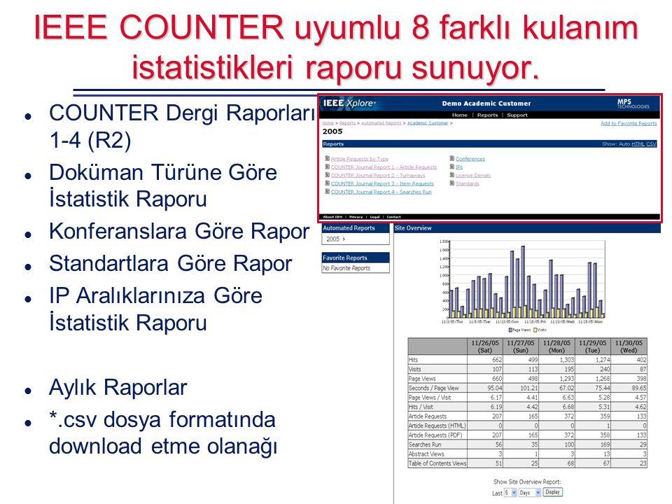 IEEE COUNTER uyumlu 8 farklı kulanım istatistikleri raporu sunuyor. l COUNTER Dergi Raporları 1-4 (R2) l Doküman Türüne Göre İstatistik Raporu l Konfe