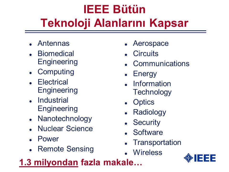 IEEE Bütün Teknoloji Alanlarını Kapsar l Antennas l Biomedical Engineering l Computing l Electrical Engineering l Industrial Engineering l Nanotechnol