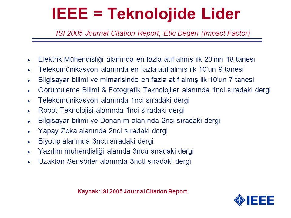 l Elektrik Mühendisliği alanında en fazla atıf almış ilk 20'nin 18 tanesi l Telekomünikasyon alanında en fazla atıf almış ilk 10'un 9 tanesi l Bilgisa