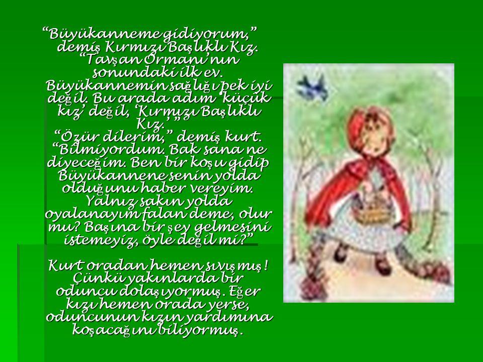 Kırmızı ba ş lıklı Kız, çiçek toplayarak, kelebeklerin pe ş inden ko ş arak, ku ş seslerini dinleyerek yolda a ğ ır a ğ ır ilerlerken kurt kestirmeden Büyükanne'nin evine varmı ş, kapıyı çalmı ş.