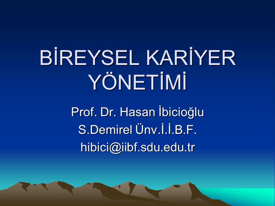 BİREYSEL KARİYER YÖNETİMİ Prof. Dr. Hasan İbicioğlu S.Demirel Ünv.İ.İ.B.F. hibici@iibf.sdu.edu.tr