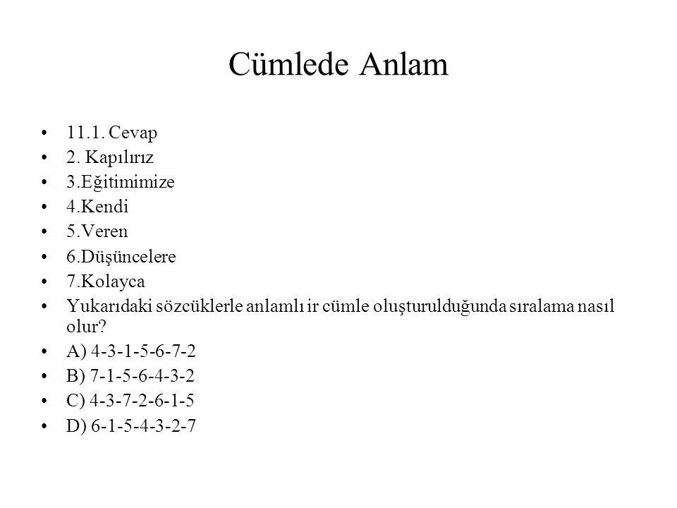 Cümlede Anlam 11.1.Cevap 2.