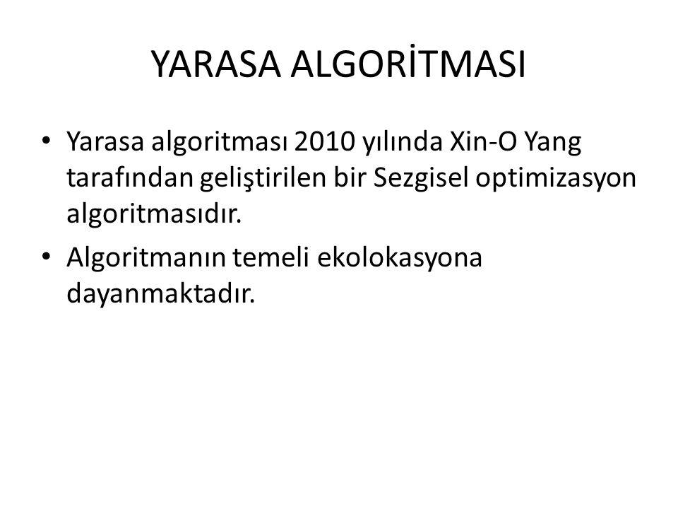 Yarasa algoritması 2010 yılında Xin-O Yang tarafından geliştirilen bir Sezgisel optimizasyon algoritmasıdır. Algoritmanın temeli ekolokasyona dayanmak