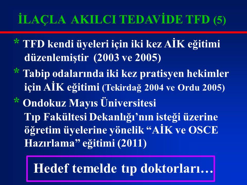 İLAÇLA AKILCI TEDAVİDE TFD (6) * Türkiye'de tıp fakültelerinde AİK eğitimi ilk kez 1996 yılında Marmara Üniversitesi Tıp Fakültesi Farmakoloji Ab.D.'da verilmeye başlandı - Bu gün 34 tıp fakültesinde AİK eğitimi verilmektedir.