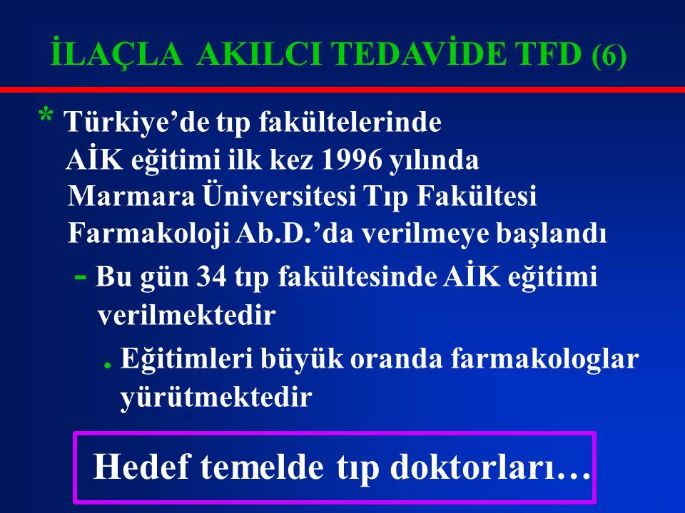 İLAÇLA AKILCI TEDAVİDE TFD (6) * Türkiye'de tıp fakültelerinde AİK eğitimi ilk kez 1996 yılında Marmara Üniversitesi Tıp Fakültesi Farmakoloji Ab.D.'d
