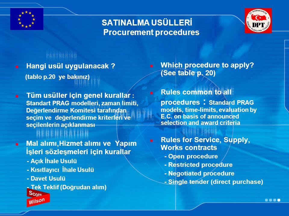 SATINALMA USÜLLERİ Procurement procedures Hangi usül uygulanacak ? (tablo p.20 ye bakınız) Tüm usüller için genel kurallar : Standart PRAG modelleri,