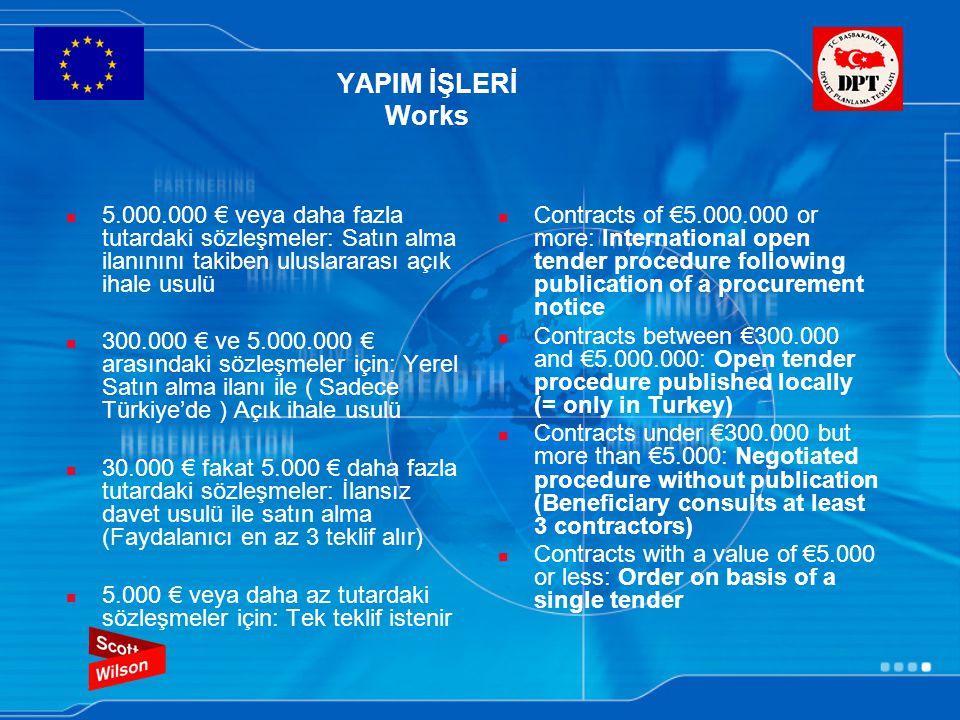 YAPIM İŞLERİ Works 5.000.000 € veya daha fazla tutardaki sözleşmeler: Satın alma ilanınını takiben uluslararası açık ihale usulü 300.000 € ve 5.000.000 € arasındaki sözleşmeler için: Yerel Satın alma ilanı ile ( Sadece Türkiye'de ) Açık ihale usulü 30.000 € fakat 5.000 € daha fazla tutardaki sözleşmeler: İlansız davet usulü ile satın alma (Faydalanıcı en az 3 teklif alır) 5.000 € veya daha az tutardaki sözleşmeler için: Tek teklif istenir Contracts of €5.000.000 or more: International open tender procedure following publication of a procurement notice Contracts between €300.000 and €5.000.000: Open tender procedure published locally (= only in Turkey) Contracts under €300.000 but more than €5.000: Negotiated procedure without publication (Beneficiary consults at least 3 contractors) Contracts with a value of €5.000 or less: Order on basis of a single tender