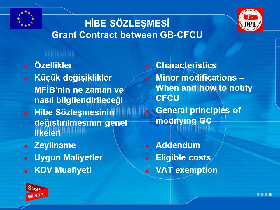 HİBE SÖZLEŞMESİ Grant Contract between GB-CFCU Özellikler Küçük değişiklikler MFİB'nin ne zaman ve nasıl bilgilendirileceği Hibe Sözleşmesinin değiştirilmesinin genel ilkeleri Zeyilname Uygun Maliyetler KDV Muafiyeti Characteristics Minor modifications – When and how to notify CFCU General principles of modifying GC Addendum Eligible costs VAT exemption