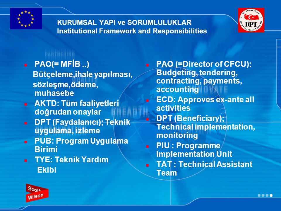 KURUMSAL YAPI ve SORUMLULUKLAR Institutional Framework and Responsibilities PAO(= MFİB..) Bütçeleme,ihale yapılması, sözleşme,ödeme, muhasebe AKTD: Tüm faaliyetleri doğrudan onaylar DPT (Faydalanıcı); Teknik uygulama, izleme PUB: Program Uygulama Birimi TYE: Teknik Yardım Ekibi PAO (=Director of CFCU): Budgeting, tendering, contracting, payments, accounting ECD: Approves ex-ante all activities DPT (Beneficiary); Technical implementation, monitoring PIU : Programme Implementation Unit TAT : Technical Assistant Team