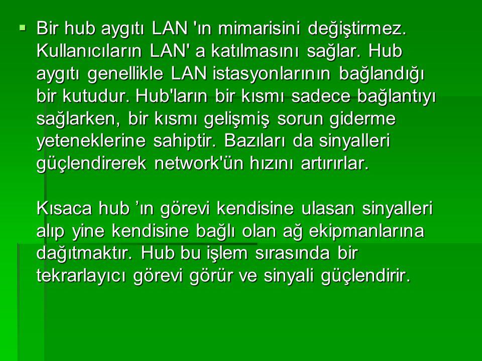  Bir hub aygıtı LAN 'ın mimarisini değiştirmez. Kullanıcıların LAN' a katılmasını sağlar. Hub aygıtı genellikle LAN istasyonlarının bağlandığı bir ku