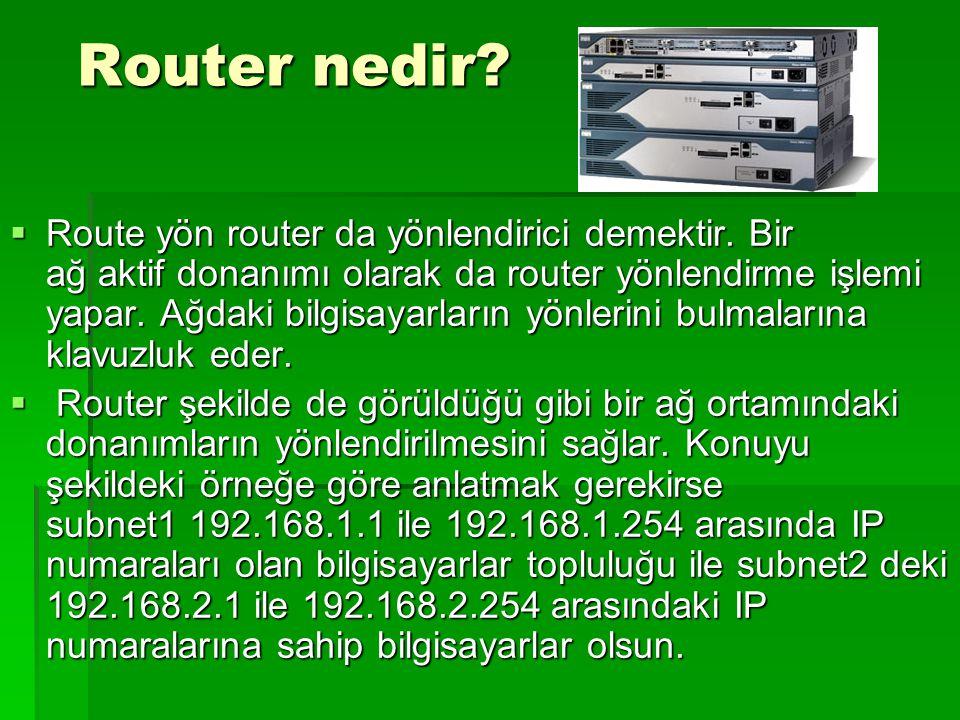 Router nedir? Router nedir?  Route yön router da yönlendirici demektir. Bir ağ aktif donanımı olarak da router yönlendirme işlemi yapar. Ağdaki bilgi