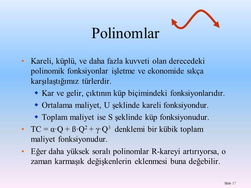 Slide 17 Polinomlar Kareli, küplü, ve daha fazla kuvveti olan derecedeki polinomik fonksiyonlar işletme ve ekonomide sıkça karşılaştığımız türlerdir.