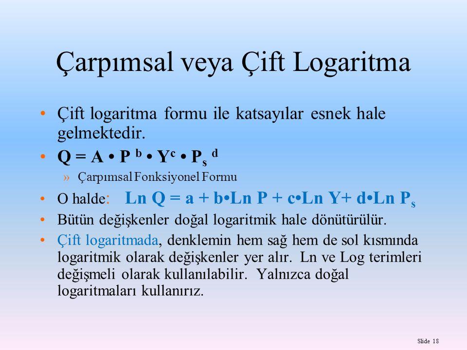 Slide 18 Çarpımsal veya Çift Logaritma Çift logaritma formu ile katsayılar esnek hale gelmektedir.