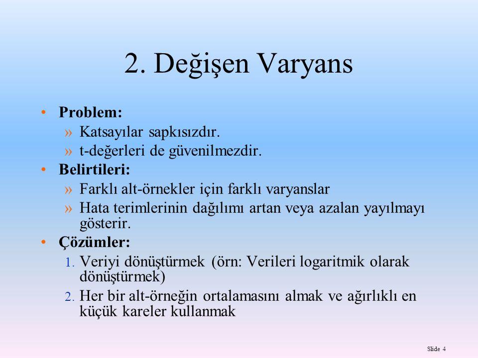 Slide 4 2.Değişen Varyans Problem: »Katsayılar sapkısızdır.