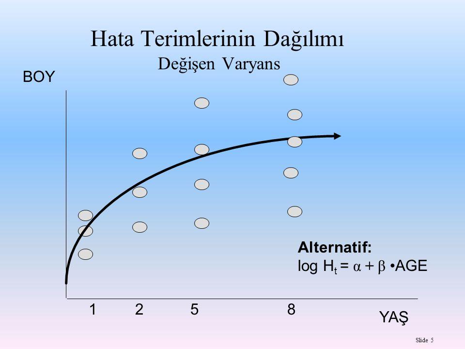 Slide 5 Hata Terimlerinin Dağılımı Değişen Varyans BOY YAŞ 12 5 8 Alternatif: log H t = α + β AGE