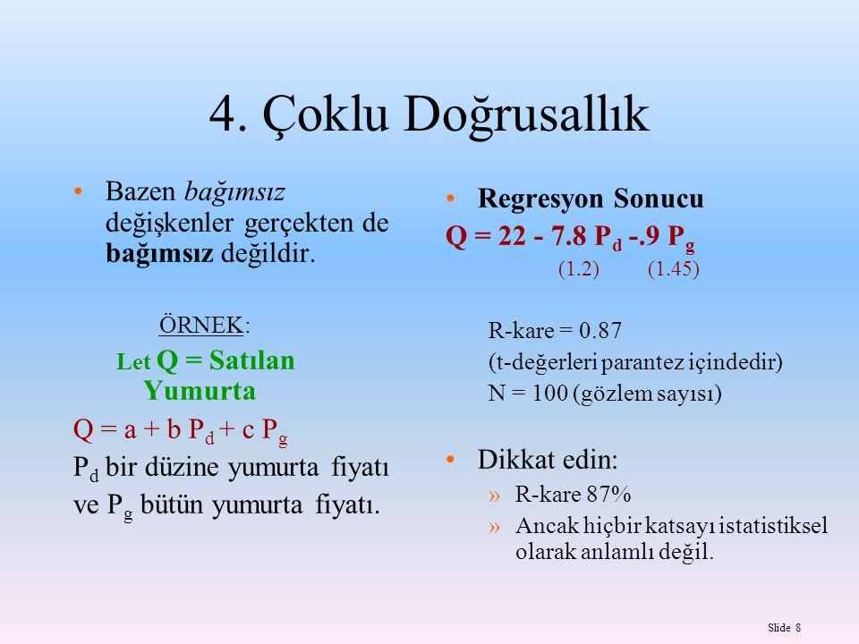 Slide 9 Çoklu Doğrusallık Problem: »Katsayılar sapkısızdır »T-değerleri küçük ve çoğunlukla anlamsızdır.