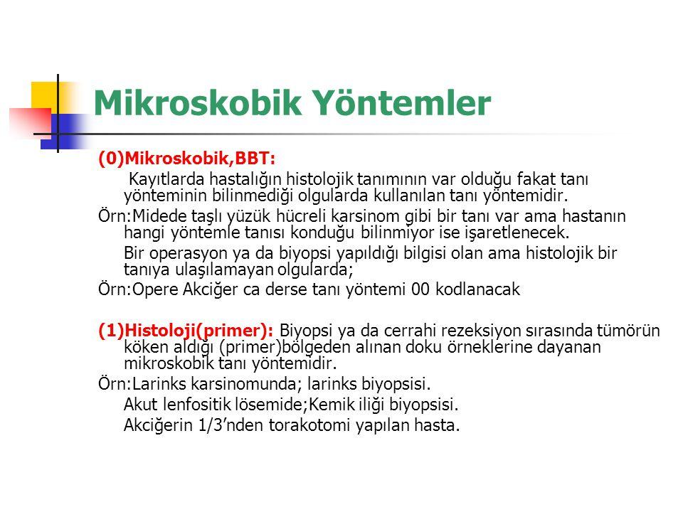 Mikroskobik Yöntemler (0)Mikroskobik,BBT: Kayıtlarda hastalığın histolojik tanımının var olduğu fakat tanı yönteminin bilinmediği olgularda kullanılan