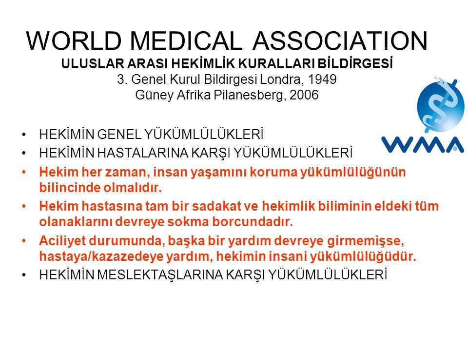 WORLD MEDICAL ASSOCIATION ULUSLAR ARASI HEKİMLİK KURALLARI BİLDİRGESİ 3.