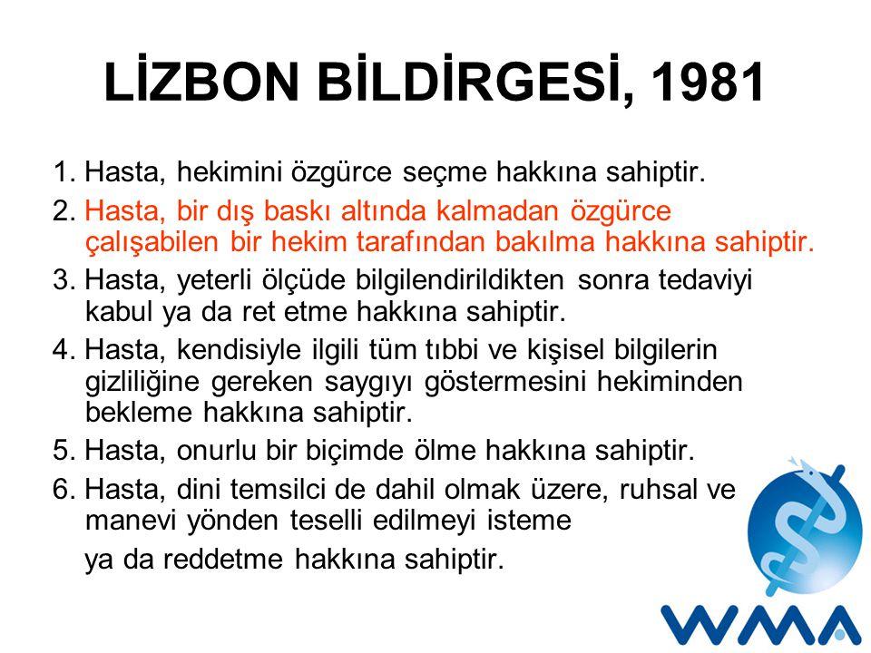 LİZBON BİLDİRGESİ, 1981 1.Hasta, hekimini özgürce seçme hakkına sahiptir.
