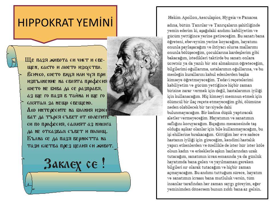 Hekim Apollon,Aesculapios, Hygeia ve Panacea adına, bütün Tanrılar ve Tanrıçaların ş ahitli ğ inde yemin ederim ki, a ş a ğ ıdaki andımı kabiliyetim ve gücüm yetti ğ ince yerine getirece ğ im.
