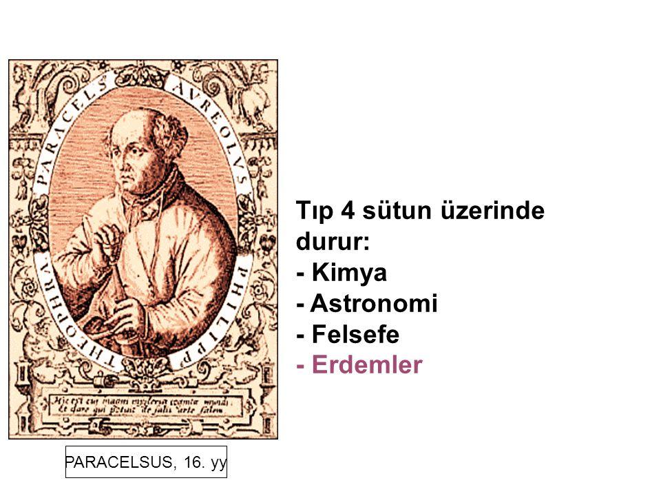 PARACELSUS, 16. yy Tıp 4 sütun üzerinde durur: - Kimya - Astronomi - Felsefe - Erdemler