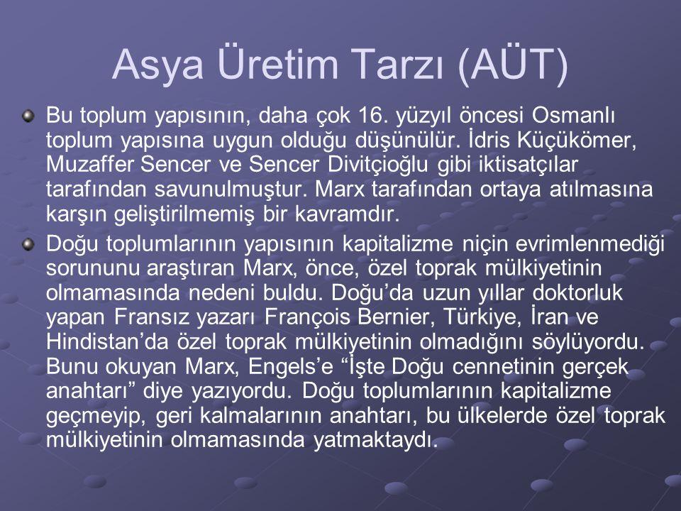 Asya Üretim Tarzı (AÜT) Bu toplum yapısının, daha çok 16. yüzyıl öncesi Osmanlı toplum yapısına uygun olduğu düşünülür. İdris Küçükömer, Muzaffer Senc