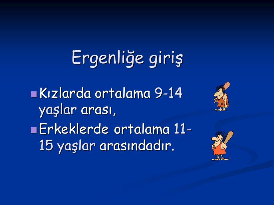Ergenliğe giriş Kızlarda ortalama 9-14 yaşlar arası, Kızlarda ortalama 9-14 yaşlar arası, Erkeklerde ortalama 11- 15 yaşlar arasındadır. Erkeklerde or