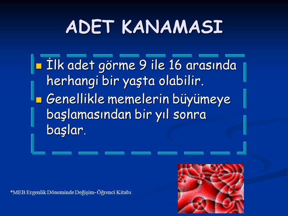 ADET KANAMASI İlk adet görme 9 ile 16 arasında herhangi bir yaşta olabilir. İlk adet görme 9 ile 16 arasında herhangi bir yaşta olabilir. Genellikle m
