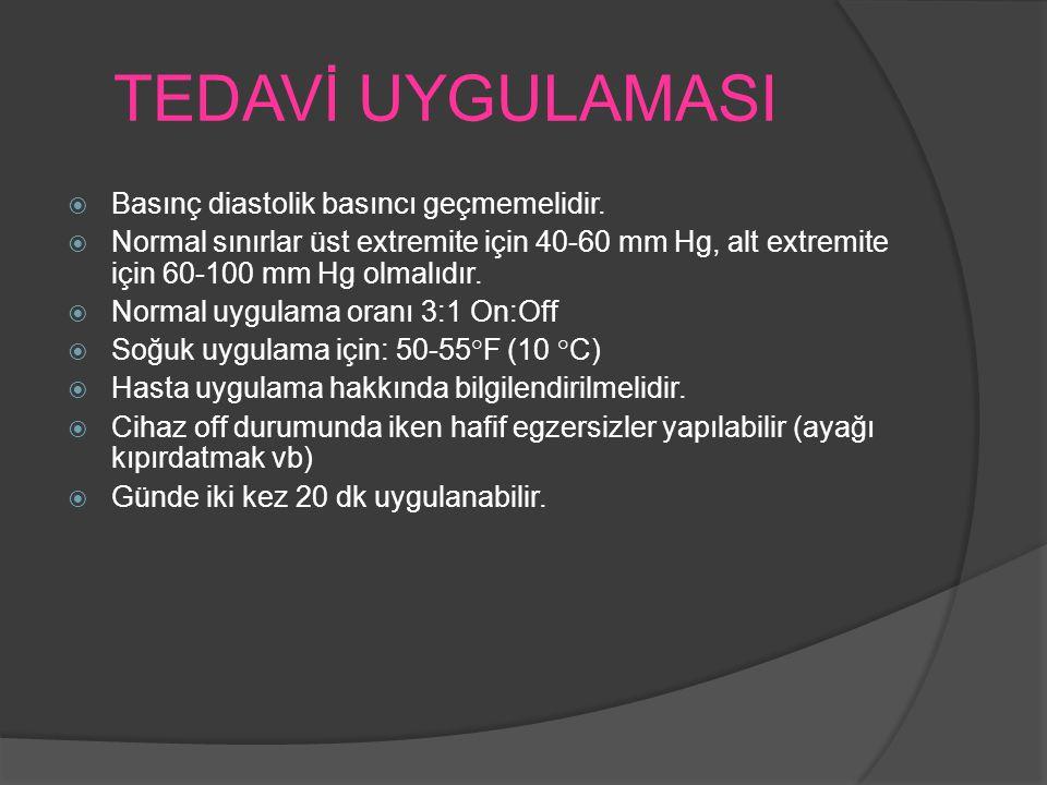 TEDAVİ UYGULAMASI  Basınç diastolik basıncı geçmemelidir.  Normal sınırlar üst extremite için 40-60 mm Hg, alt extremite için 60-100 mm Hg olmalıdır