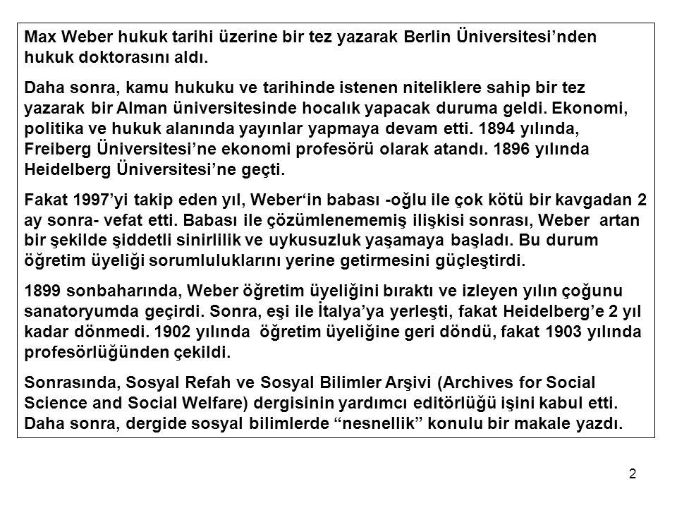 2 Max Weber hukuk tarihi üzerine bir tez yazarak Berlin Üniversitesi'nden hukuk doktorasını aldı. Daha sonra, kamu hukuku ve tarihinde istenen nitelik