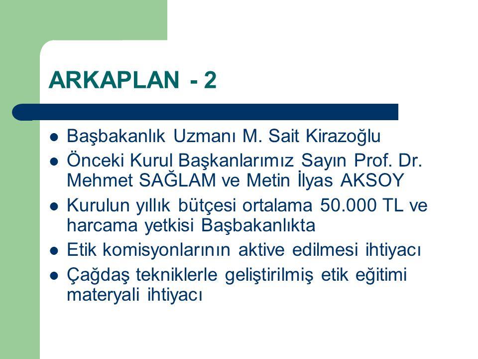 ARKAPLAN - 2 Başbakanlık Uzmanı M. Sait Kirazoğlu Önceki Kurul Başkanlarımız Sayın Prof.