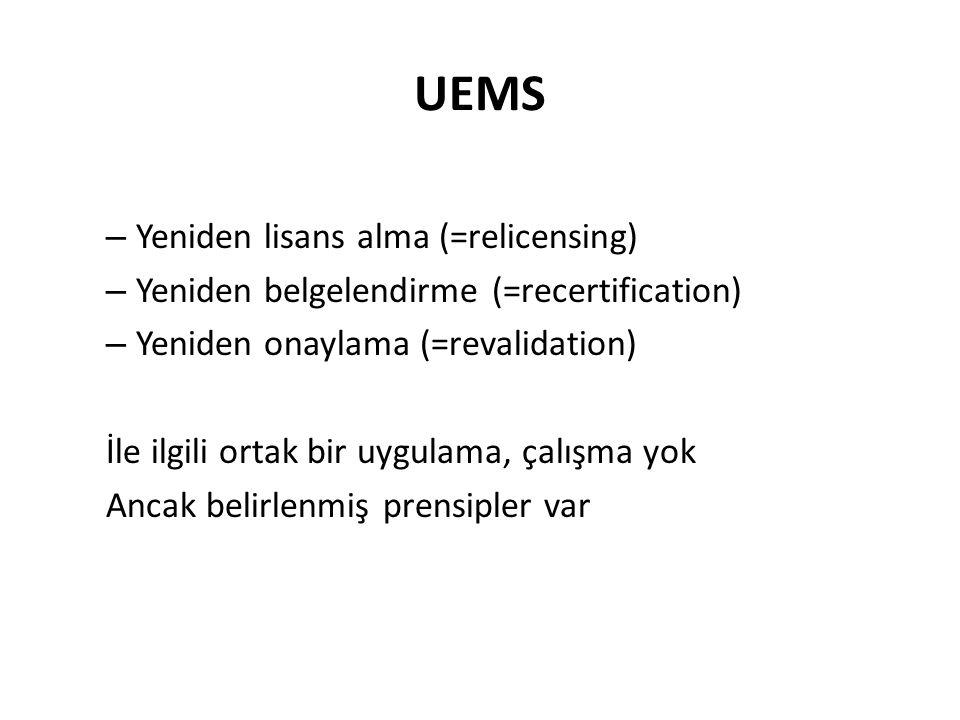 UEMS – Yeniden lisans alma (=relicensing) – Yeniden belgelendirme (=recertification) – Yeniden onaylama (=revalidation) İle ilgili ortak bir uygulama, çalışma yok Ancak belirlenmiş prensipler var