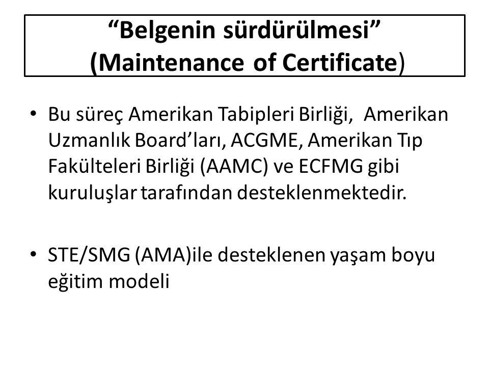 Belgenin sürdürülmesi (Maintenance of Certificate) Bu süreç Amerikan Tabipleri Birliği, Amerikan Uzmanlık Board'ları, ACGME, Amerikan Tıp Fakülteleri Birliği (AAMC) ve ECFMG gibi kuruluşlar tarafından desteklenmektedir.