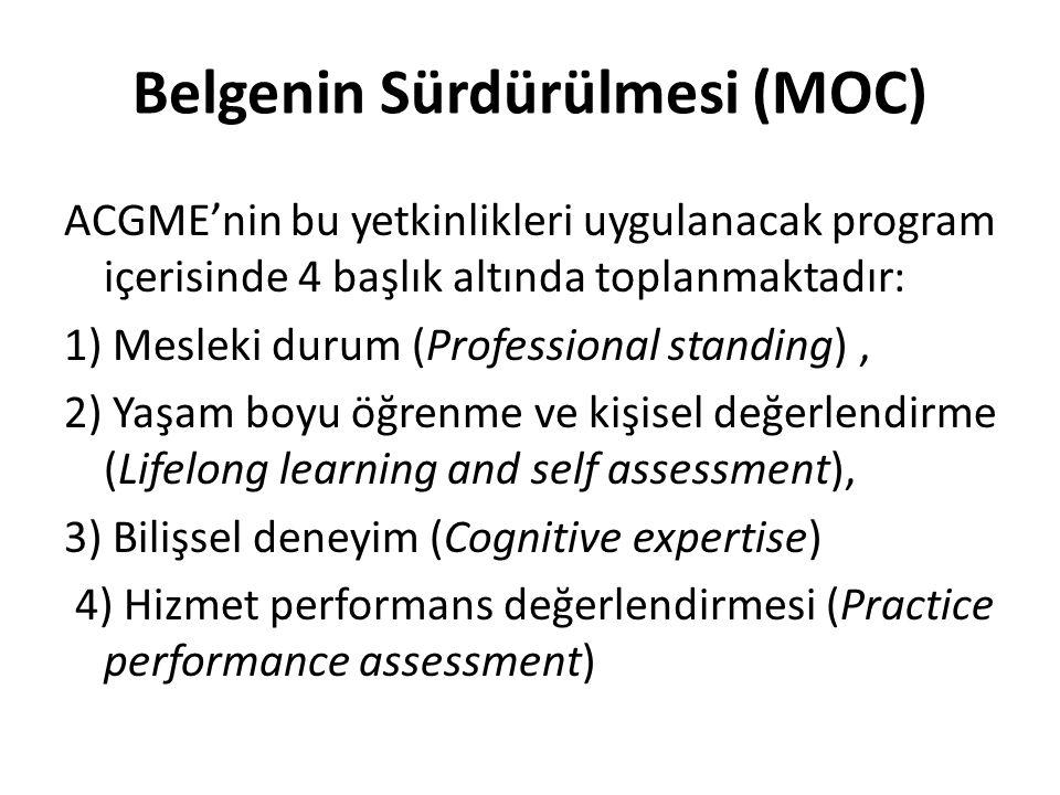 Belgenin Sürdürülmesi (MOC) ACGME'nin bu yetkinlikleri uygulanacak program içerisinde 4 başlık altında toplanmaktadır: 1) Mesleki durum (Professional standing), 2) Yaşam boyu öğrenme ve kişisel değerlendirme (Lifelong learning and self assessment), 3) Bilişsel deneyim (Cognitive expertise) 4) Hizmet performans değerlendirmesi (Practice performance assessment)