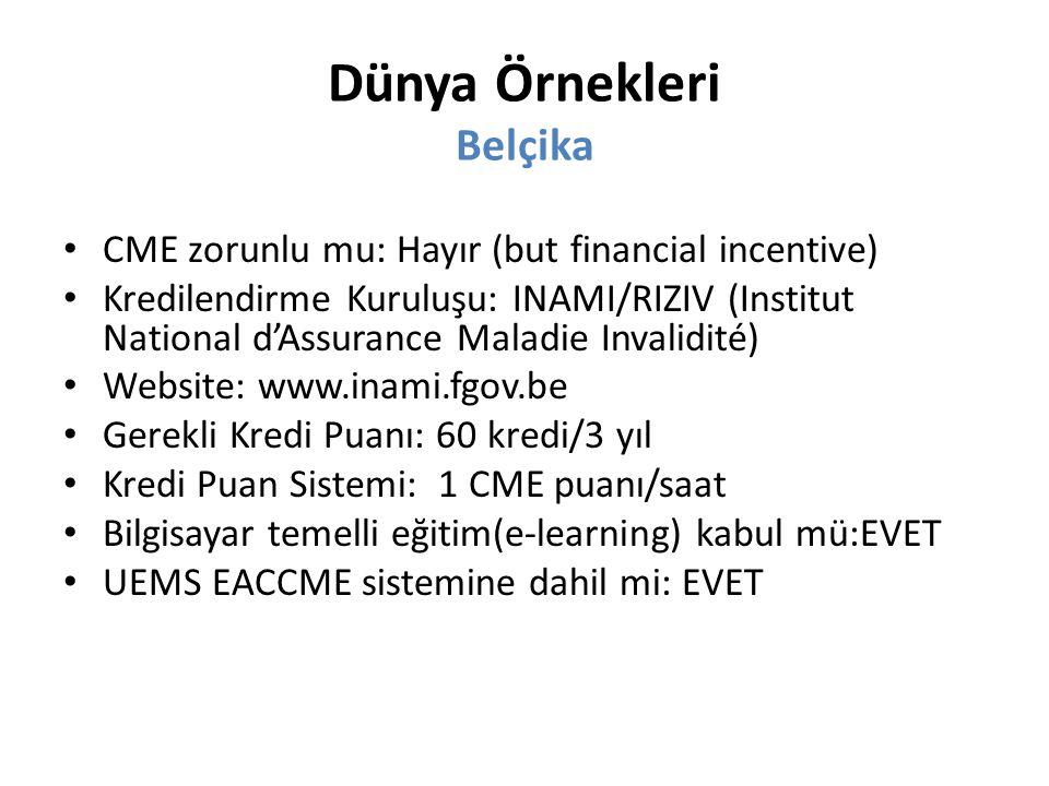 Dünya Örnekleri Belçika CME zorunlu mu: Hayır (but financial incentive) Kredilendirme Kuruluşu: INAMI/RIZIV (Institut National d'Assurance Maladie Invalidité) Website: www.inami.fgov.be Gerekli Kredi Puanı: 60 kredi/3 yıl Kredi Puan Sistemi: 1 CME puanı/saat Bilgisayar temelli eğitim(e-learning) kabul mü:EVET UEMS EACCME sistemine dahil mi: EVET