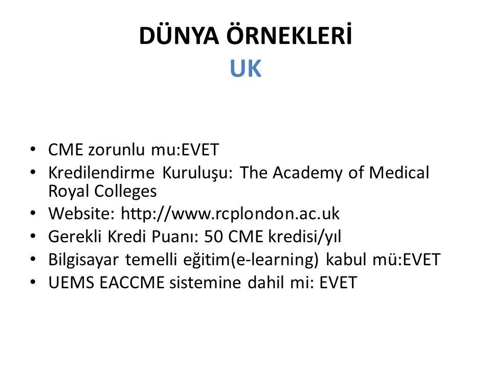 DÜNYA ÖRNEKLERİ UK CME zorunlu mu:EVET Kredilendirme Kuruluşu: The Academy of Medical Royal Colleges Website: http://www.rcplondon.ac.uk Gerekli Kredi Puanı: 50 CME kredisi/yıl Bilgisayar temelli eğitim(e-learning) kabul mü:EVET UEMS EACCME sistemine dahil mi: EVET