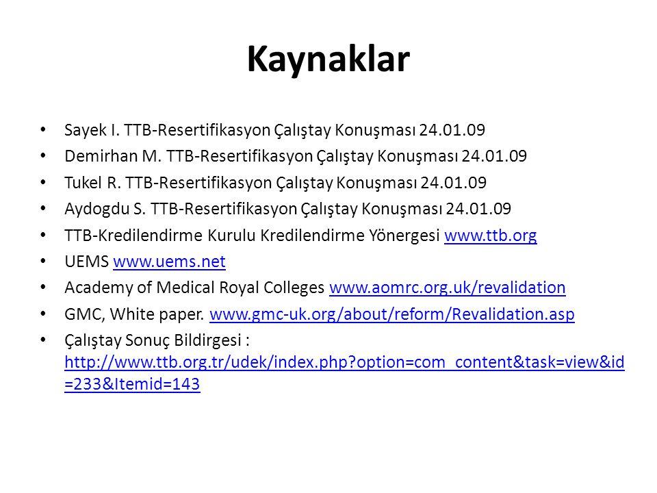 Kaynaklar Sayek I.TTB-Resertifikasyon Çalıştay Konuşması 24.01.09 Demirhan M.