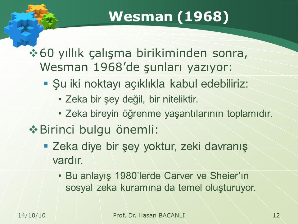 Wesman (1968)  60 yıllık çalışma birikiminden sonra, Wesman 1968'de şunları yazıyor:  Şu iki noktayı açıklıkla kabul edebiliriz: Zeka bir şey değil, bir niteliktir.