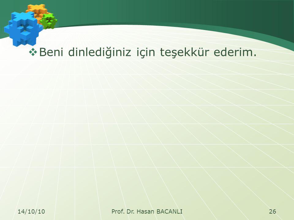  Beni dinlediğiniz için teşekkür ederim. 14/10/1026Prof. Dr. Hasan BACANLI