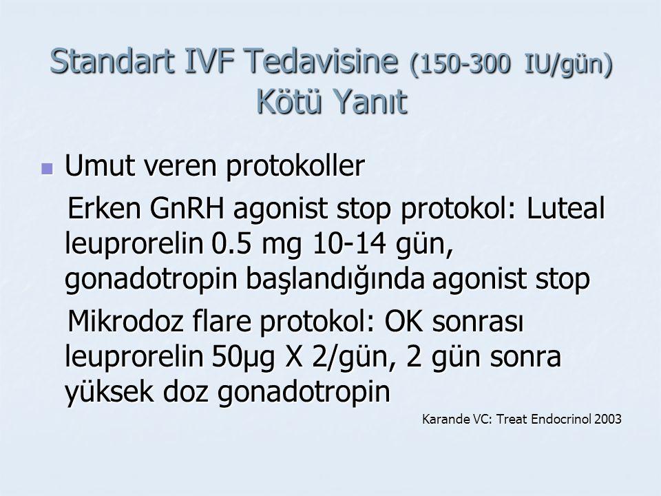 Standart IVF Tedavisine (150-300 IU/gün) Kötü Yanıt Umut veren protokoller Umut veren protokoller Erken GnRH agonist stop protokol: Luteal leuprorelin