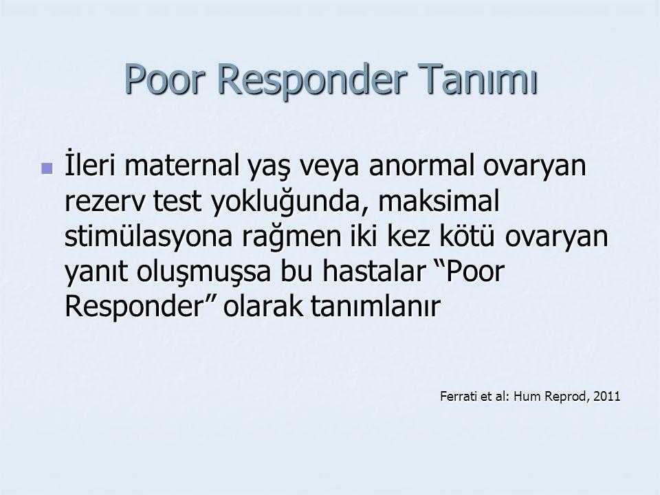 Poor Responder Tanımı İleri maternal yaş veya anormal ovaryan rezerv test yokluğunda, maksimal stimülasyona rağmen iki kez kötü ovaryan yanıt oluşmuşs