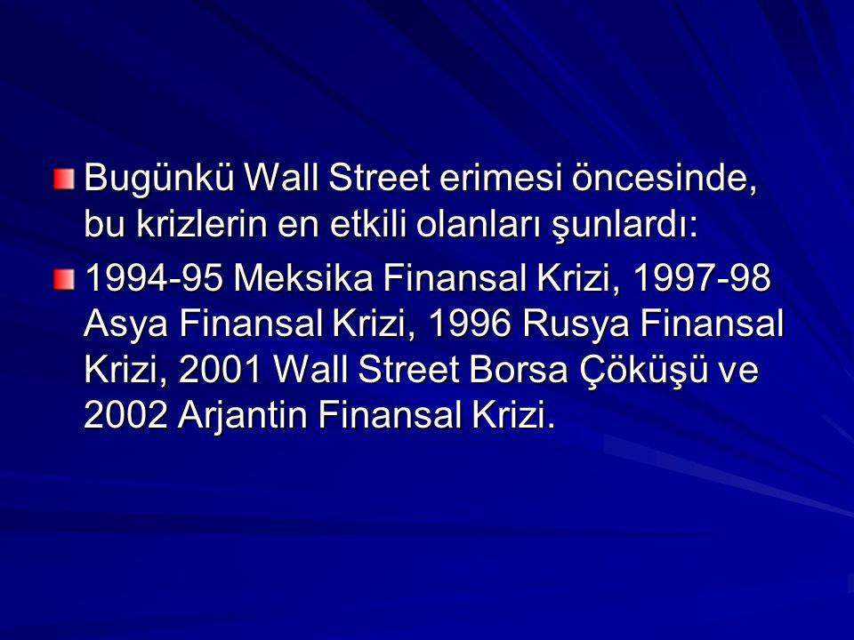 Bugünkü Wall Street erimesi öncesinde, bu krizlerin en etkili olanları şunlardı: 1994-95 Meksika Finansal Krizi, 1997-98 Asya Finansal Krizi, 1996 Rusya Finansal Krizi, 2001 Wall Street Borsa Çöküşü ve 2002 Arjantin Finansal Krizi.