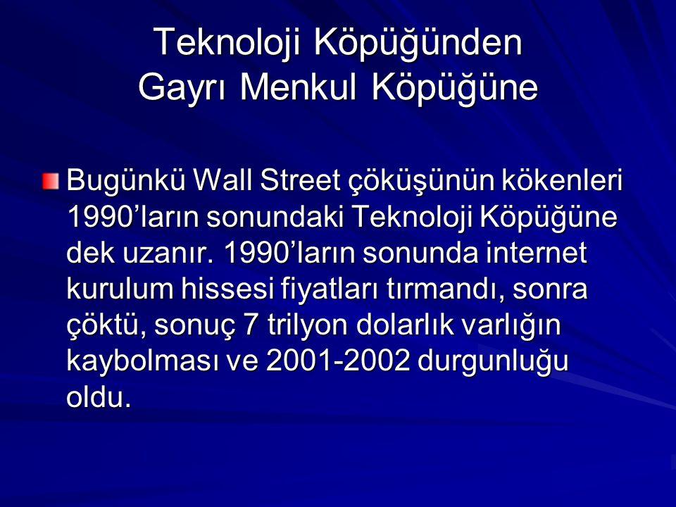 Teknoloji Köpüğünden Gayrı Menkul Köpüğüne Bugünkü Wall Street çöküşünün kökenleri 1990'ların sonundaki Teknoloji Köpüğüne dek uzanır.