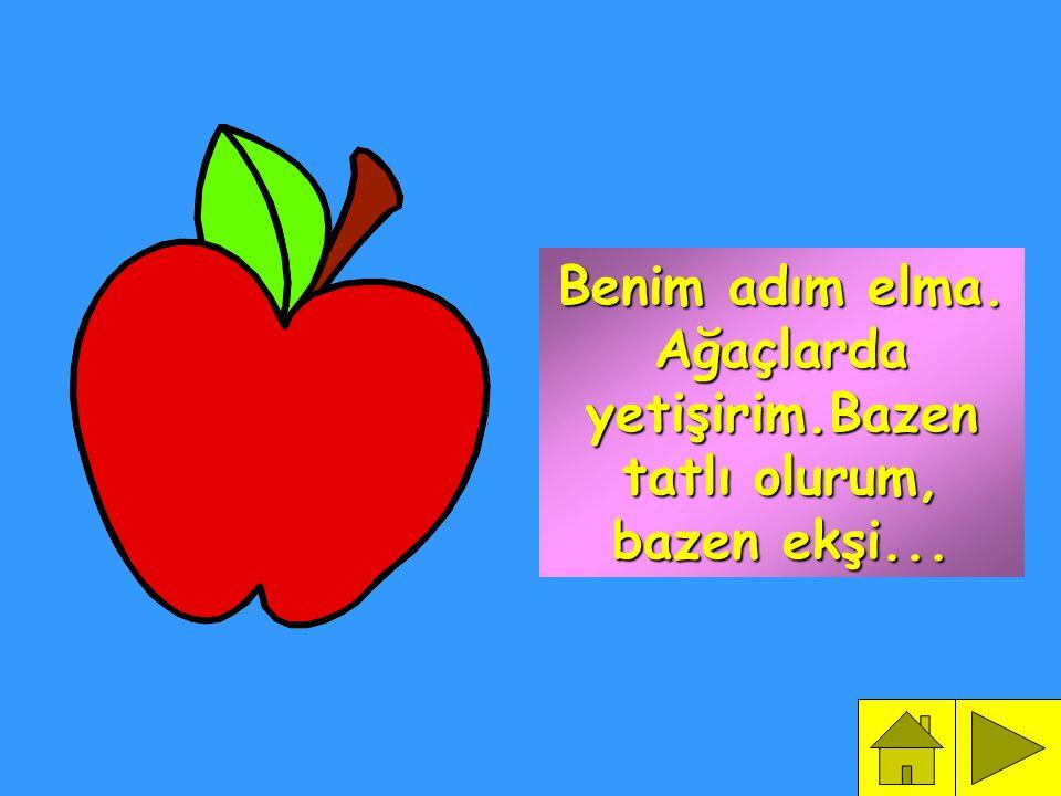 Benim adım elma. Ağaçlarda yetişirim.Bazen tatlı olurum, bazen ekşi...