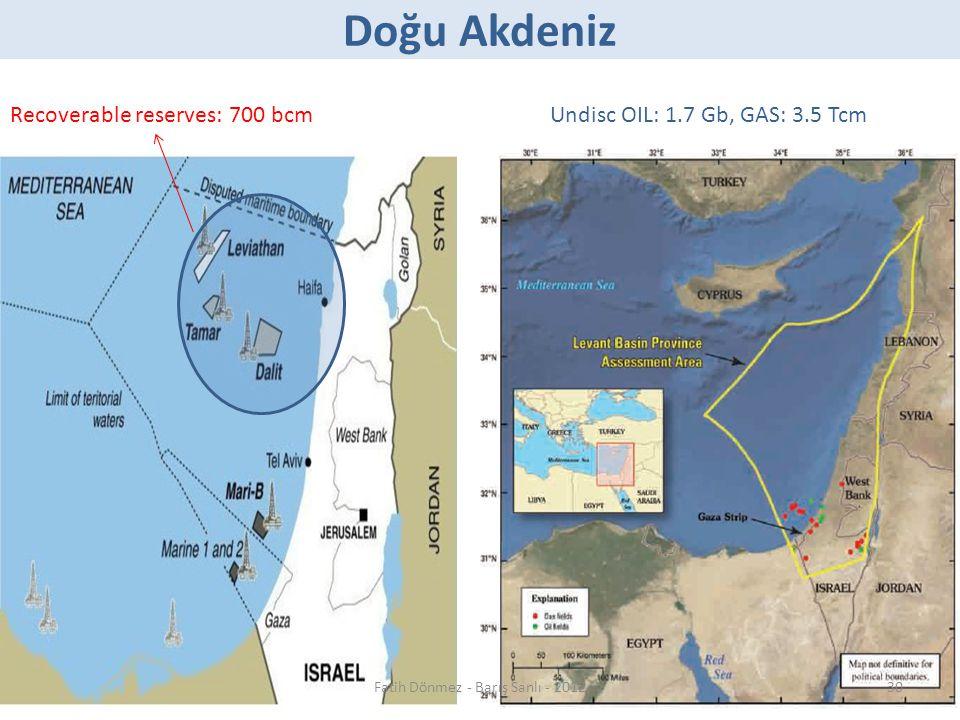 Doğu Akdeniz Undisc OIL: 1.7 Gb, GAS: 3.5 TcmRecoverable reserves: 700 bcm 30Fatih Dönmez - Barış Sanlı - 2012